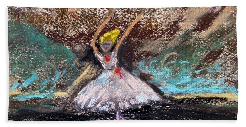Little Ballerina Beach Towel featuring the painting Petite Ballerina by Mary Carol Williams