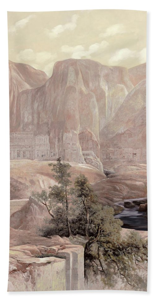 Copy Of A Master Beach Towel featuring the painting Petra by Guido Borelli