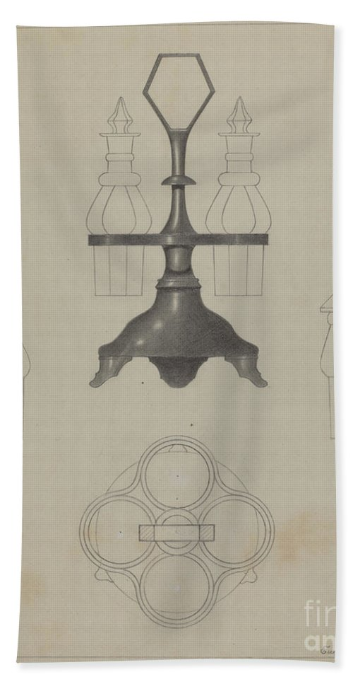 Beach Towel featuring the drawing Pewter Caster by Eugene Barrell