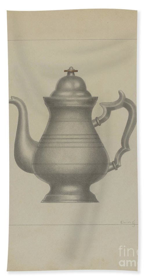 Beach Towel featuring the drawing Pewter Coffee Pot by Burton Ewing