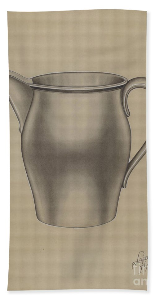 Beach Towel featuring the drawing Pewter Pitcher by Lawrence Flynn