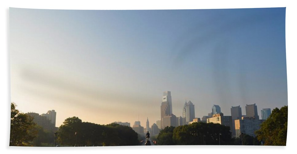 Eakins Oval Beach Towel featuring the photograph Philadelphia Across Eakins Oval by Bill Cannon