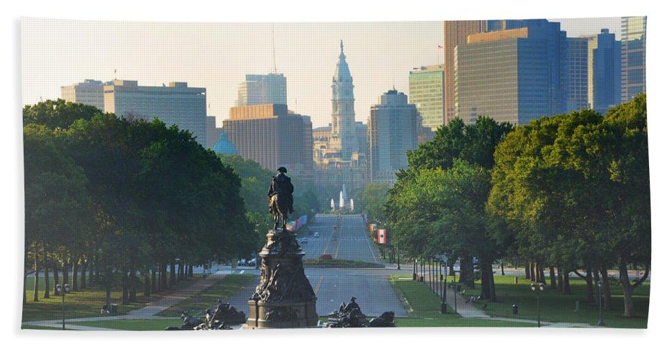 Philadelphia Beach Towel featuring the photograph Philadelphia Benjamin Franklin Parkway by Bill Cannon