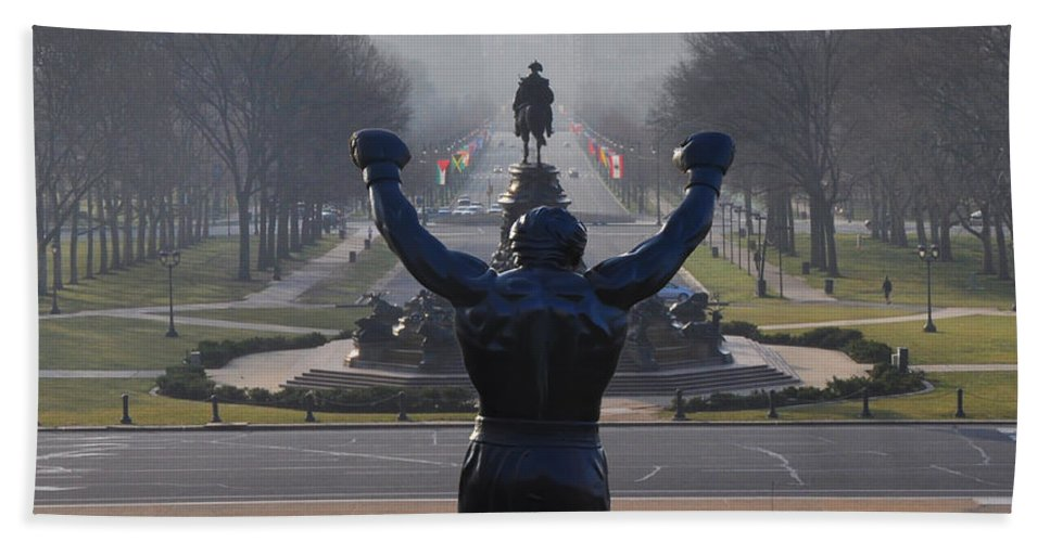 Philadelphia Champion - Rocky Beach Towel featuring the photograph Philadelphia Champion - Rocky by Bill Cannon