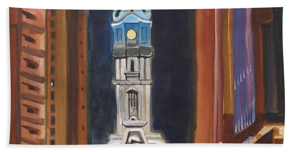 Landmarks Beach Towel featuring the painting Philadelphia City Hall by Patricia Arroyo