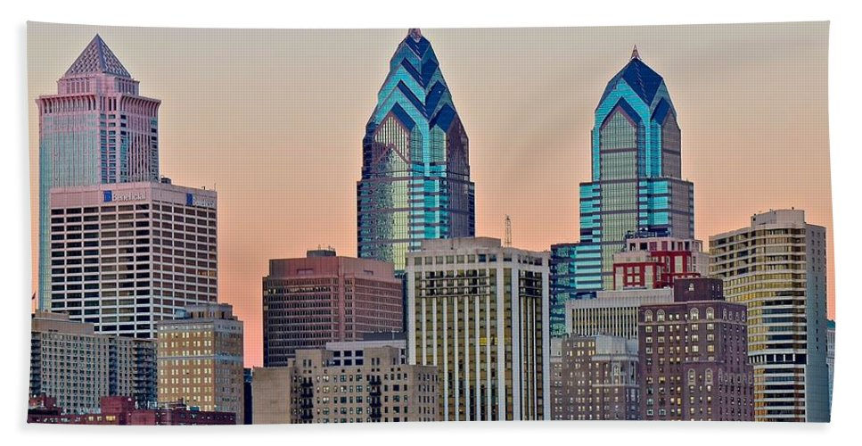 Philadelphia Beach Towel featuring the photograph Philly At Sunset by Frozen in Time Fine Art Photography