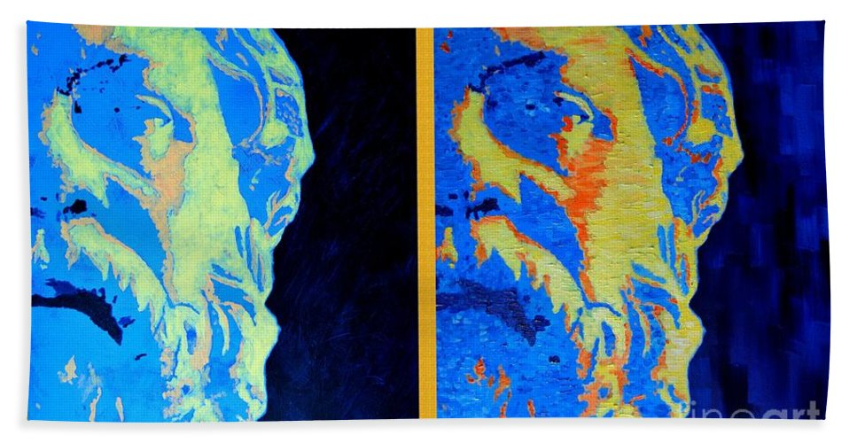 Socrates Beach Towel featuring the painting Philosopher - Socrates 2 by Ana Maria Edulescu