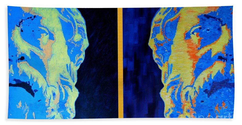 Socrates Beach Towel featuring the painting Philosopher -socrates 1 by Ana Maria Edulescu