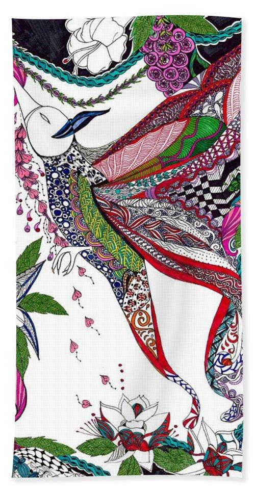 Bird Beach Towel featuring the drawing Phoenix by M'amm M'amm