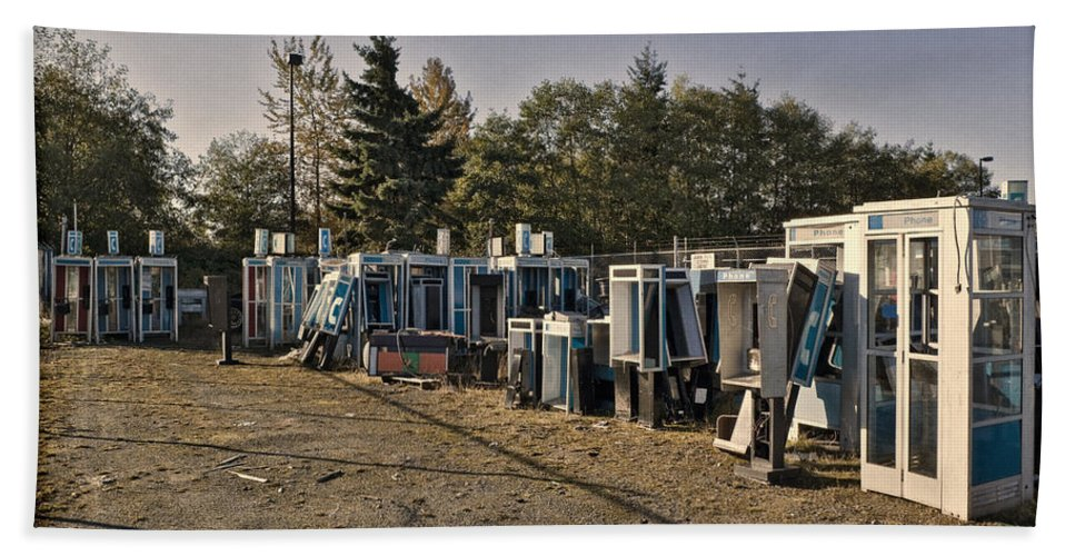 Telephone Beach Towel featuring the photograph Phone Booth Graveyard by Kelley King