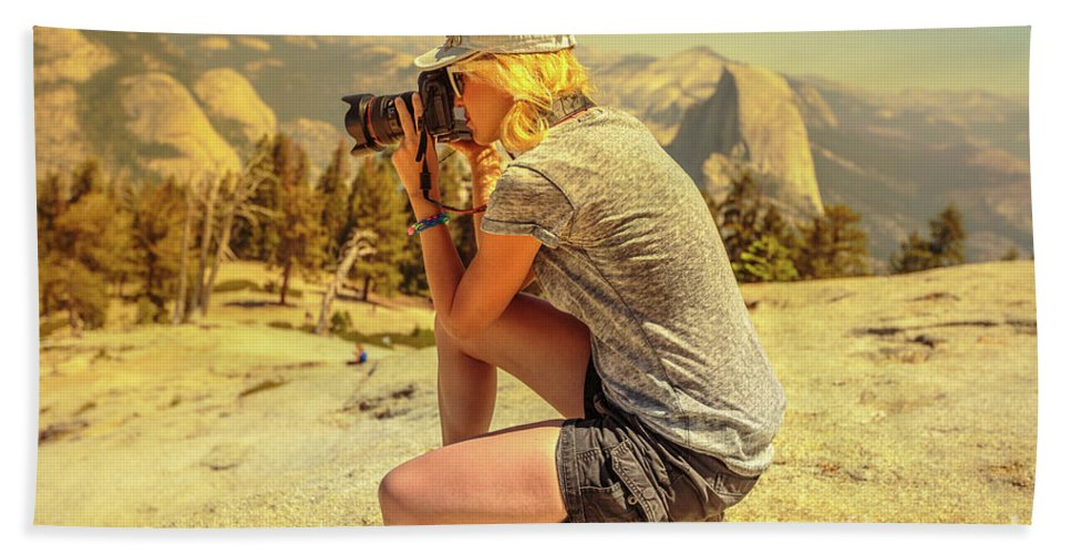 Yosemite Beach Towel featuring the photograph Photographer On Sentinel Dome by Benny Marty