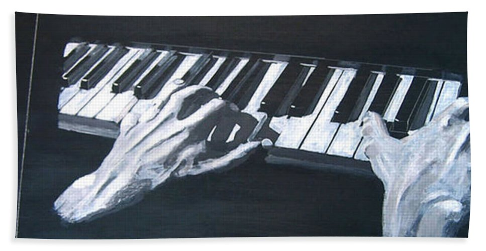 Metronome Beach Towel featuring the painting Piano Hands Plus Metronome by Richard Le Page