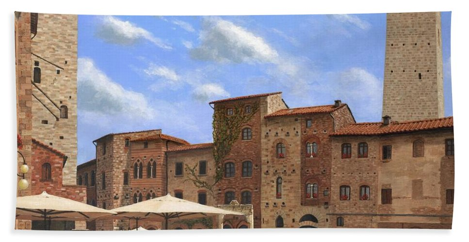 Landscape Beach Towel featuring the painting Piazza Della Cisterna San Gimignano Tuscany by Richard Harpum