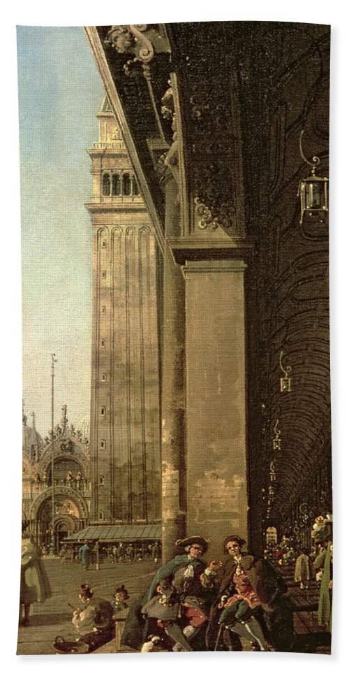 Canaletto Beach Towel featuring the painting Piazza Di San Marco And The Colonnade Of The Procuratie Nuove by Canaletto