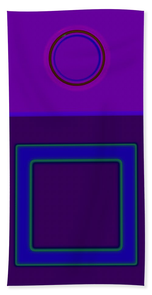 Classical Beach Towel featuring the digital art Piazza Purple by Charles Stuart