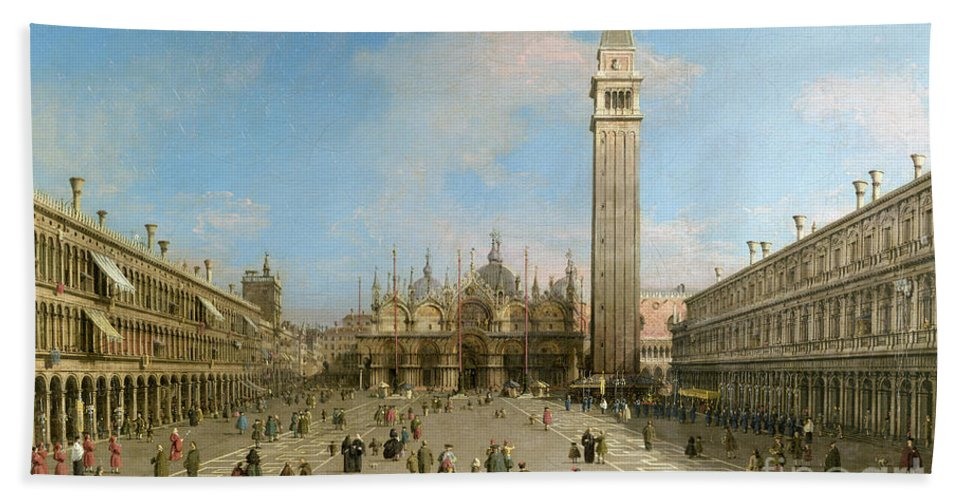 Canaletto Beach Sheet featuring the painting Piazza San Marco Looking Towards The Basilica Di San Marco by Canaletto