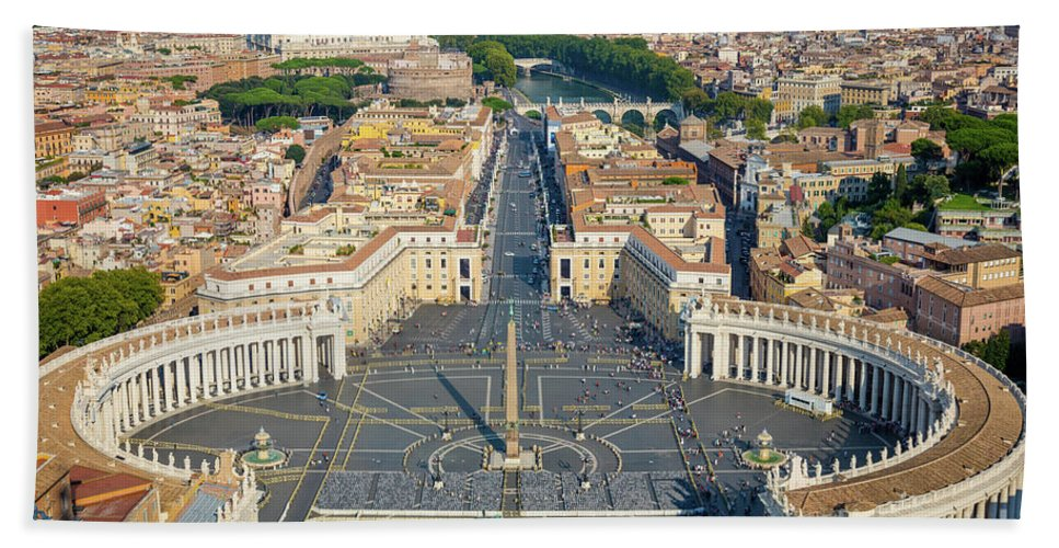 Catholic Beach Sheet featuring the photograph Piazza San Pietro by Inge Johnsson