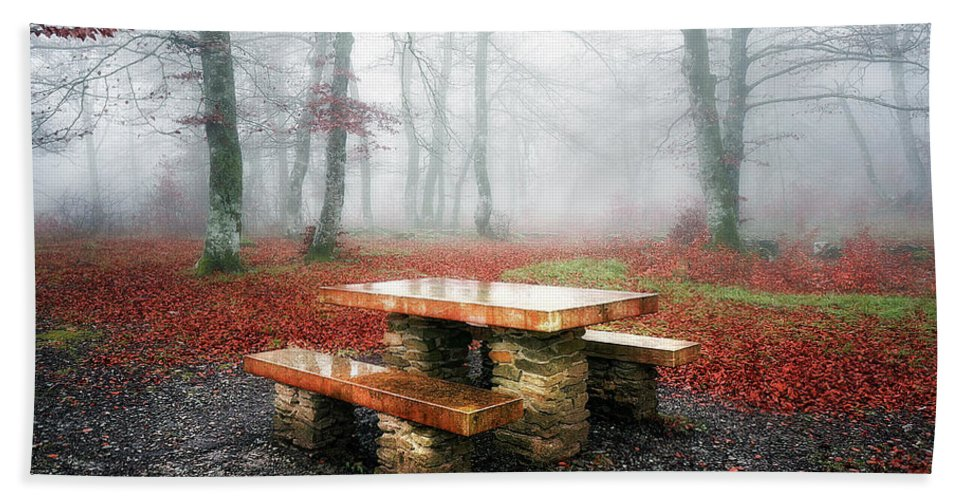 Picnic Beach Towel featuring the photograph Picnic Of Fog by Mikel Martinez de Osaba