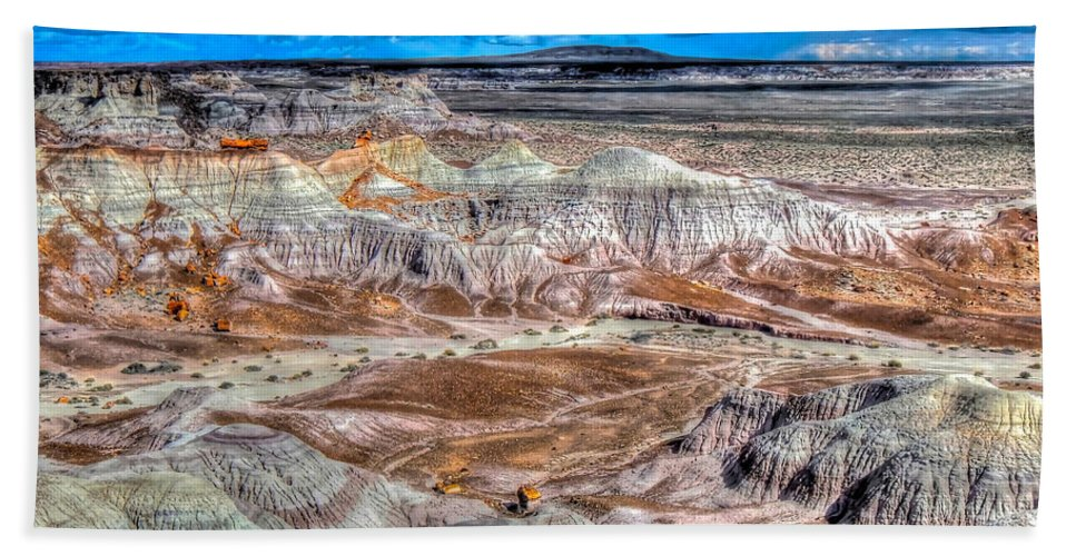 Petrified Forest National Park Beach Towel featuring the photograph Picturesque Blue Mesa by Don Mercer