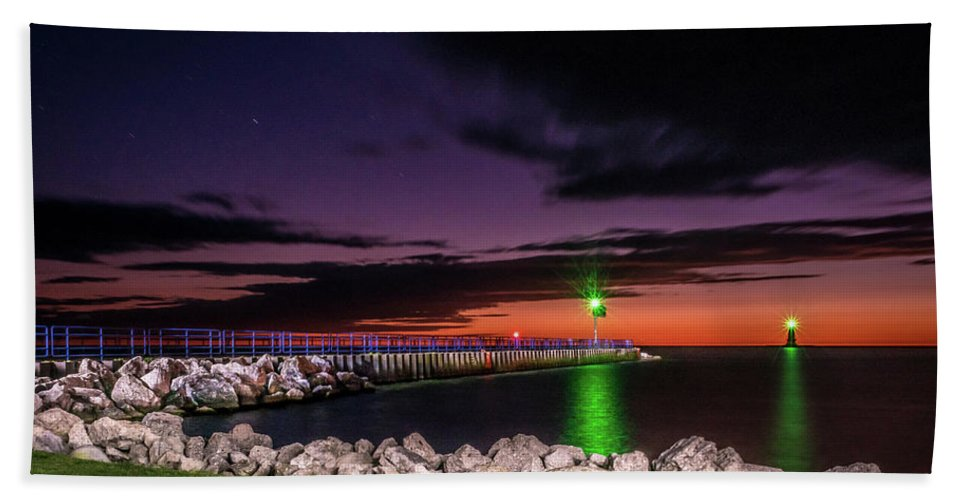 Lake Michigan Beach Towel featuring the photograph Pier And Lighthouse by Lester Plank