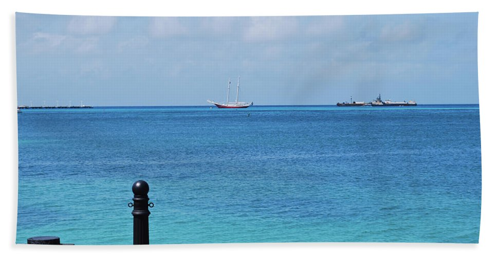 Marina Beach Towel featuring the photograph Pier View by Sherri Johnson