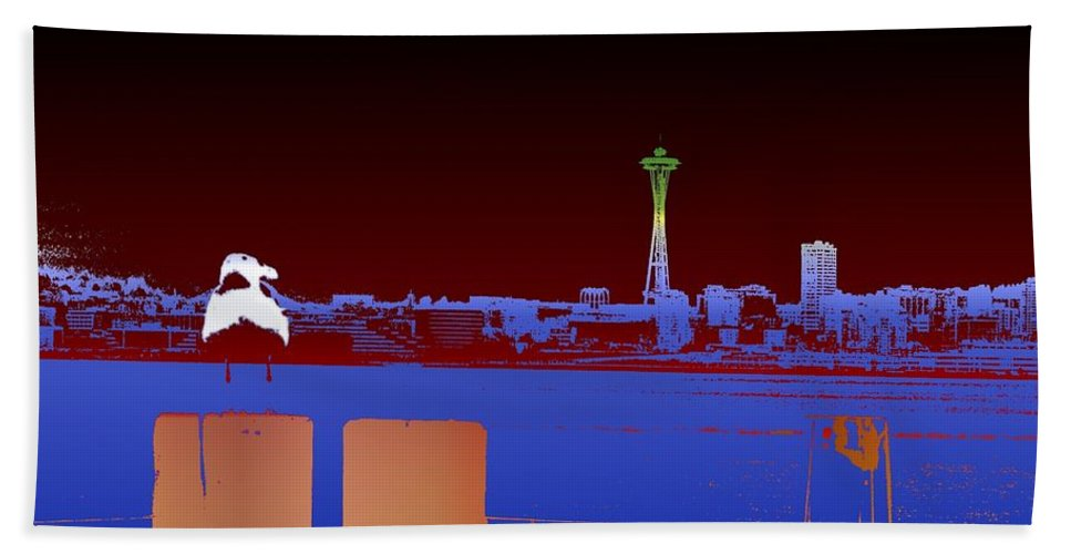 Seattle Beach Towel featuring the digital art Pier with a View by Tim Allen