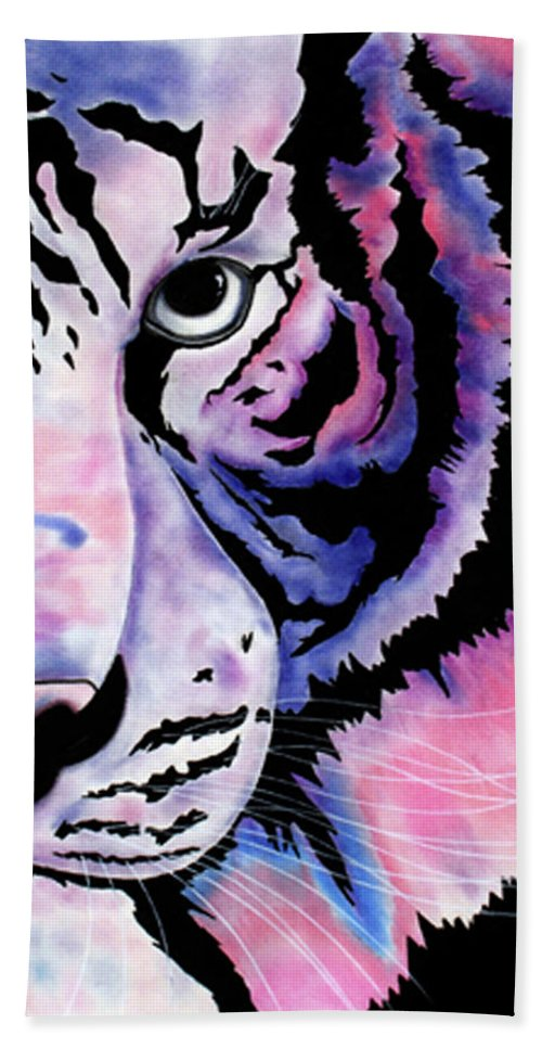 Tigers Paintings Beach Towel featuring the drawing Piercing by Mayhem Mediums