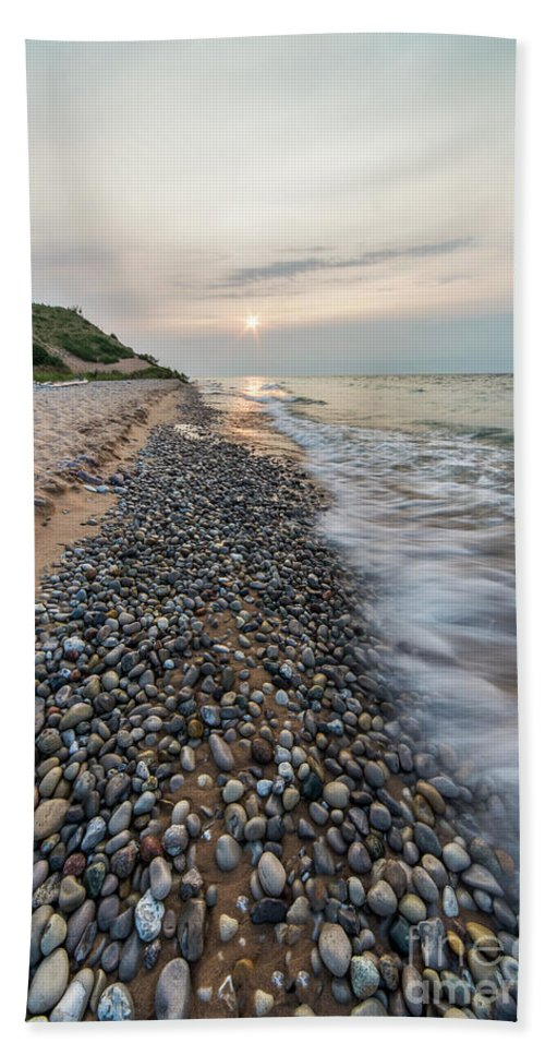 Lake Michigan Beach Towel featuring the photograph Pierport Shoreline by Twenty Two North Photography