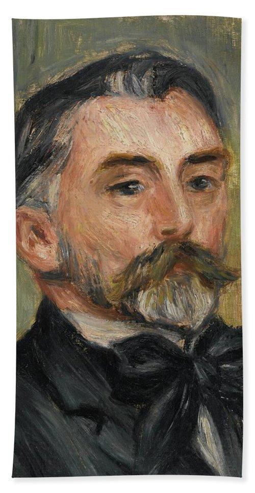 Man Beach Towel featuring the painting Pierre-auguste Renoir 1841-1919 Portrait Stephane Mallarme by Artistic Rifki