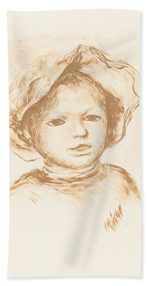 Auguste Renoir Beach Towel featuring the drawing Pierre Renoir by Auguste Renoir