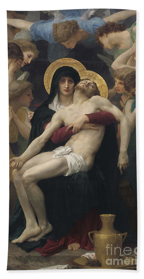 Pieta Beach Towel featuring the painting Pieta by William-Adolphe Bouguereau