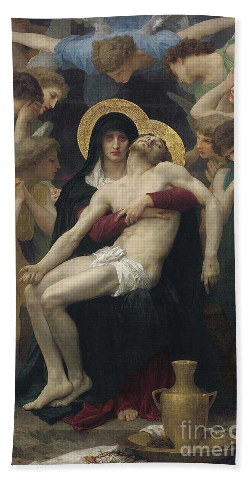 Pieta Beach Sheet featuring the painting Pieta by William Adolphe Bouguereau