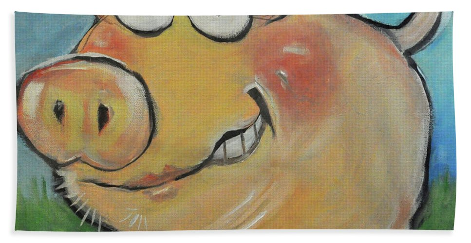 Pig Beach Towel featuring the painting pig by Tim Nyberg