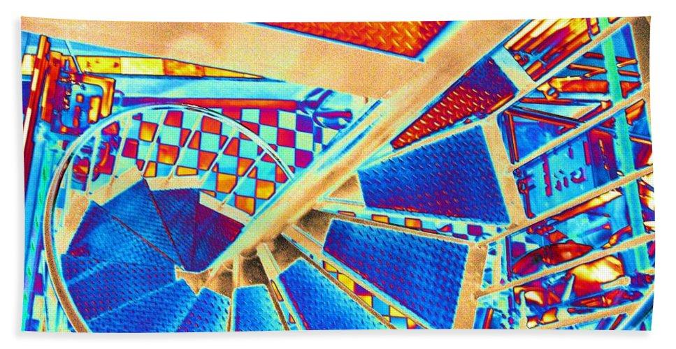 Seattle Beach Towel featuring the digital art Pike Brewpub Stair by Tim Allen