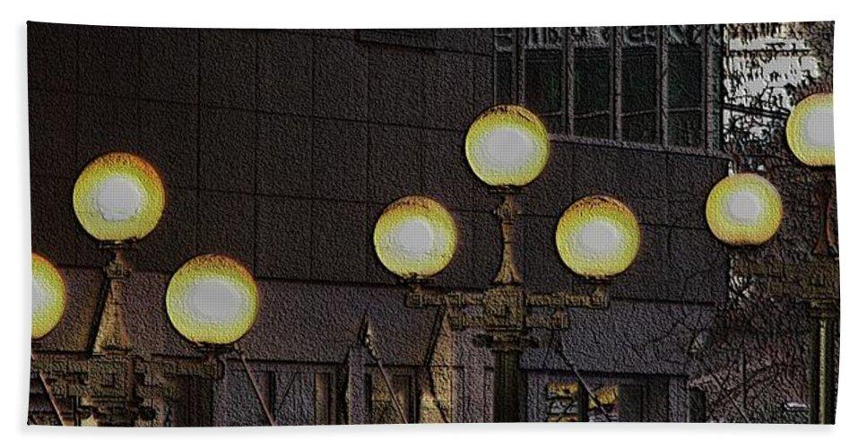Seattle Beach Sheet featuring the digital art Pike Lights by Tim Allen
