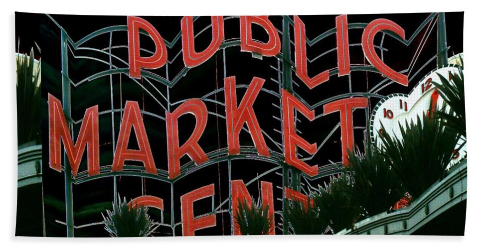 Seattle Beach Towel featuring the digital art Pike Place Market Entrance 5 by Tim Allen