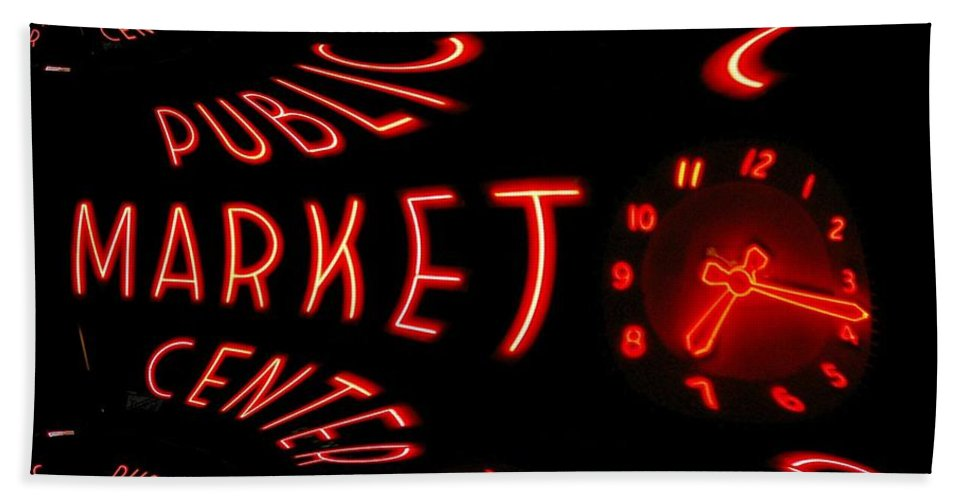 Seattle Beach Towel featuring the digital art Pike Place Market Entrance 6 by Tim Allen