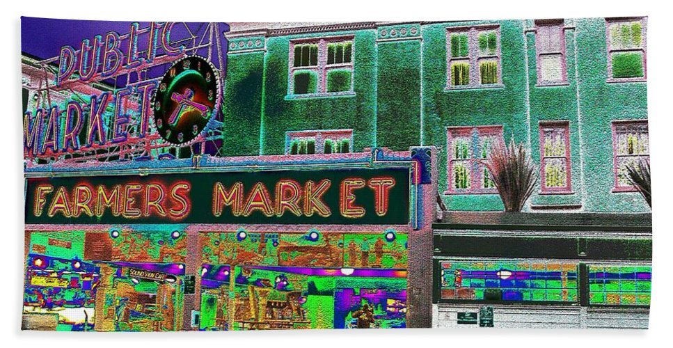Seattle Beach Towel featuring the photograph Pike Place Market by Tim Allen