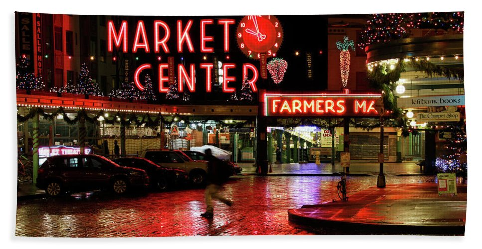 Pike Place Beach Towel featuring the photograph Pike Place Reflections by Jeff Greene