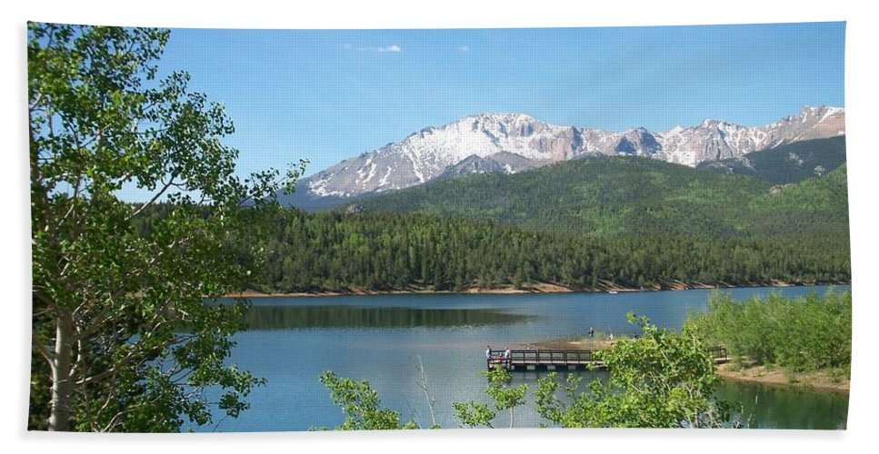 Colorado Beach Towel featuring the photograph Pike's Peak by Anita Burgermeister