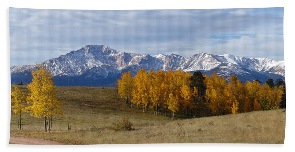 Fall Beach Towel featuring the photograph Pikes Peak In The Fall by Carol Milisen