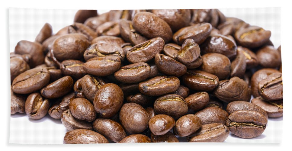 Coffee Beach Towel featuring the photograph Pile Of Coffee Beans Isolated On White by Donald Erickson