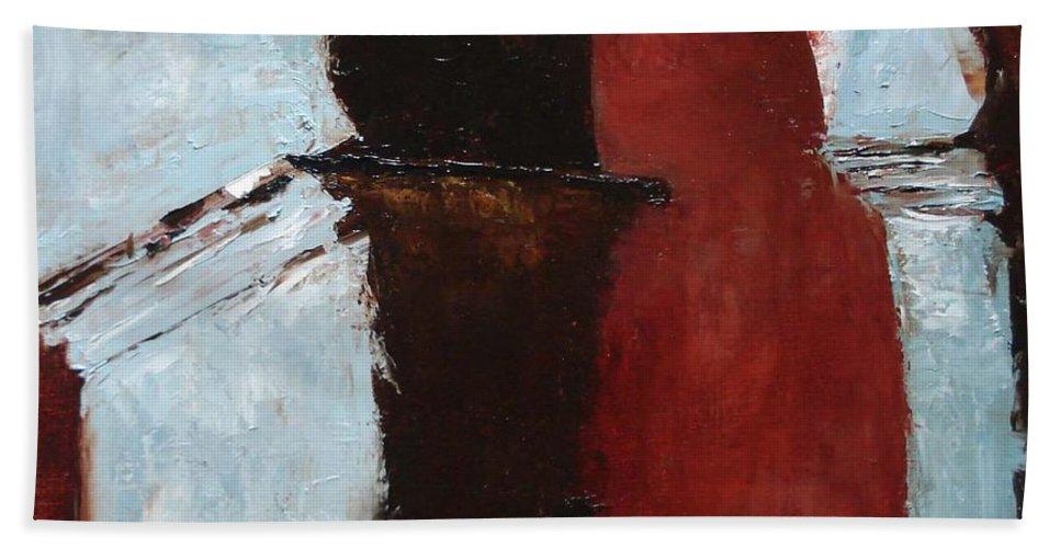 Pillars Beach Towel featuring the painting Pillars Of Society by Barbara Andolsek