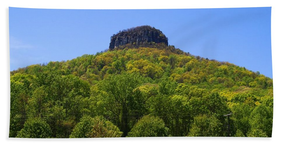Pilot Mountain Beach Towel featuring the photograph Pilot Mountain In Spring Green by Kathryn Meyer