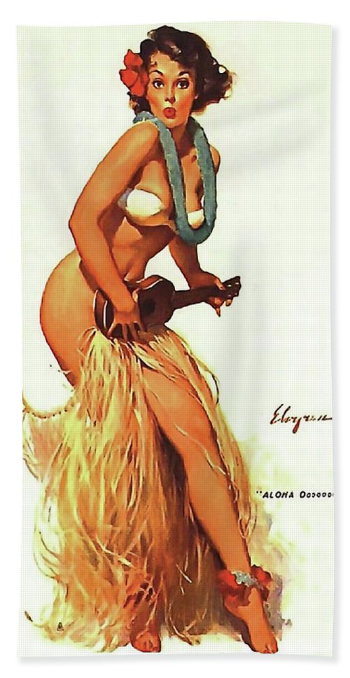 pin up hula girl playing ukulele beach sheet for sale by long shot. Black Bedroom Furniture Sets. Home Design Ideas