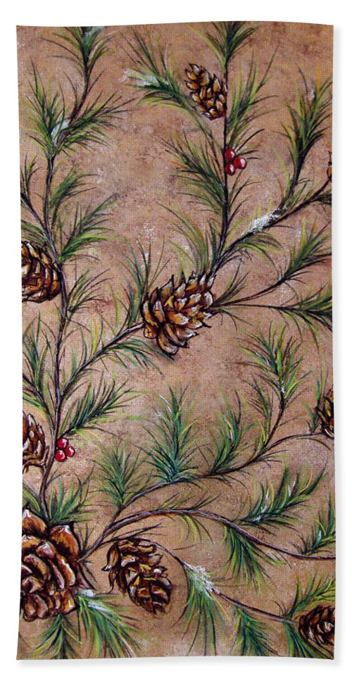 Acrylic Beach Towel featuring the painting Pine Cones And Spruce Branches by Nancy Mueller