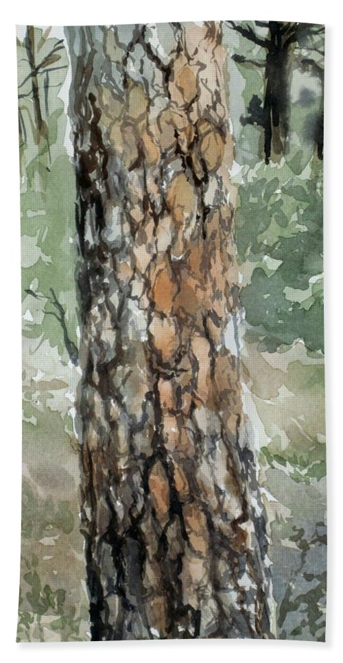 Tree Beach Towel featuring the painting Pine Tree by Karen Boudreaux