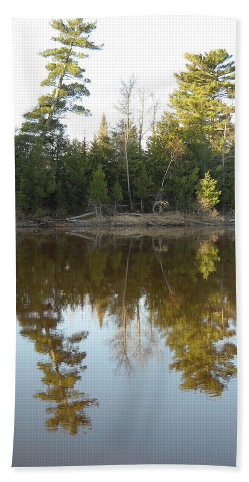 Mississippi River Beach Towel featuring the photograph Pine Trees Across Mississippi River by Kent Lorentzen