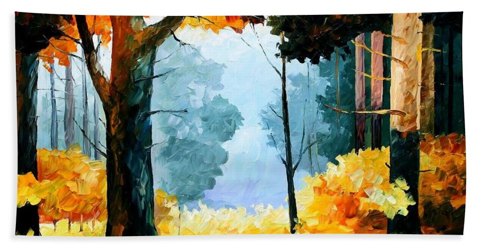 Afremov Beach Towel featuring the painting Pine Wood by Leonid Afremov