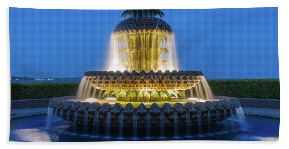 Architectural Beach Towel featuring the photograph Pineapple Fountain by Jerry Fornarotto